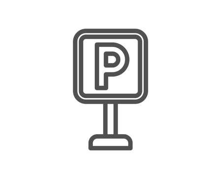 Ilustración de Parking line icon. Car park sign. Transport place symbol. Quality design element. Classic style parking. Editable stroke. Vector - Imagen libre de derechos