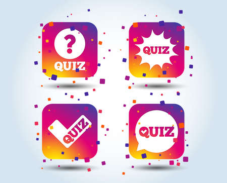 Illustration pour Quiz icons. Speech bubble with check mark symbol. Explosion boom sign. Colour gradient square buttons. Flat design concept. Vector - image libre de droit