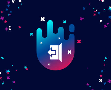 Illustration for Logout arrow simple icon. Sign out symbol. Navigation pointer. Cool banner with icon. Abstract shape with gradient. Vector - Royalty Free Image