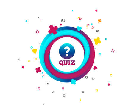 Illustration pour Quiz with question mark sign icon. Questions and answers game symbol. Colorful button with icon. Geometric elements. Vector - image libre de droit