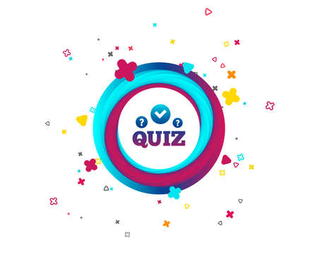 Illustration pour Quiz with check and question marks sign icon. Questions and answers game symbol. Colorful button with icon. Geometric elements. Vector - image libre de droit