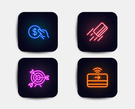 Illustration for Neon glow lights. Set of Credit card, Target and Payment icons. Contactless payment sign. Targeting, Usd coin.  Neon icons. Glowing light banners. Vector - Royalty Free Image