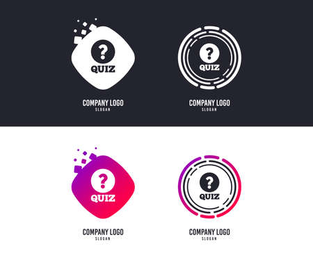 Illustration pour Logotype concept. Quiz with question mark sign icon. Questions and answers game symbol. Logo design. Colorful buttons with icons. Vector - image libre de droit