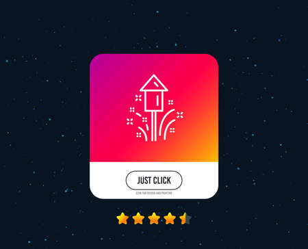 Illustration for Fireworks line icon. Christmas or New year rocket sign. Pyrotechnic symbol. Web or internet line icon design. Rating stars. Just click button. Vector - Royalty Free Image