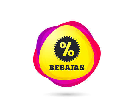 Photo pour Gradient shopping banner. Rebajas - Discounts in Spain sign icon. Star with percentage symbol. Sales tag. Abstract template for design. Vector - image libre de droit