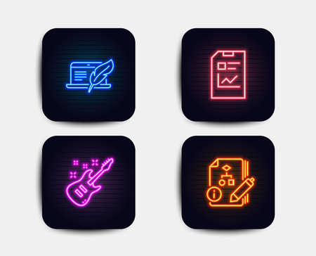 Illustration pour Neon glow lights. Set of Copyright laptop, Report document and Electric guitar icons. Algorithm sign. Writer device, Statistics file, Musical instrument. Project.  Neon icons. Glowing light banners - image libre de droit