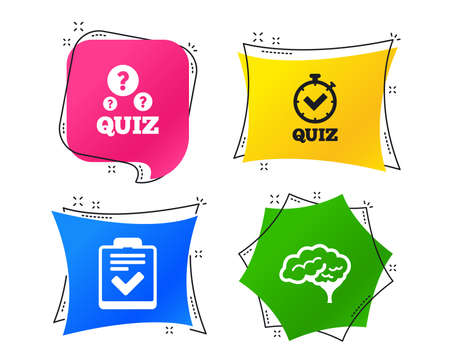 Illustration pour Quiz icons. Human brain think. Checklist and stopwatch timer symbol. Survey poll or questionnaire feedback form sign. Geometric colorful tags. Banners with flat icons. Trendy design. Vector - image libre de droit