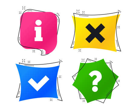 Ilustración de Information icons. Delete and question FAQ mark signs. Approved check mark symbol. Geometric colorful tags. Banners with flat icons. Trendy design. Vector - Imagen libre de derechos