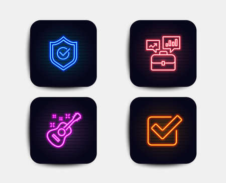 Illustration pour Neon glow lights. Set of Business portfolio, Approved shield and Guitar icons. Checkbox sign. Job interview, Protection, Acoustic instrument. Approved tick.  Neon icons. Glowing light banners. Vector - image libre de droit