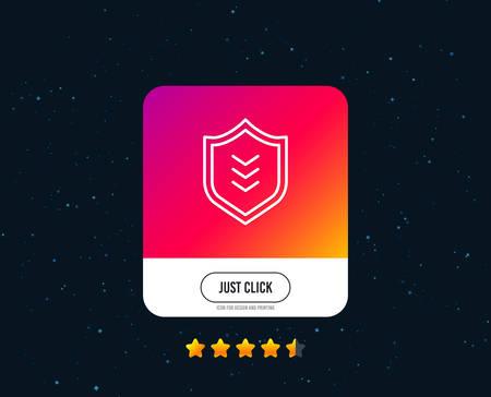 Ilustración de Shield line icon. Protection symbol. Business security sign. Web or internet line icon design. Rating stars. Just click button. Vector - Imagen libre de derechos