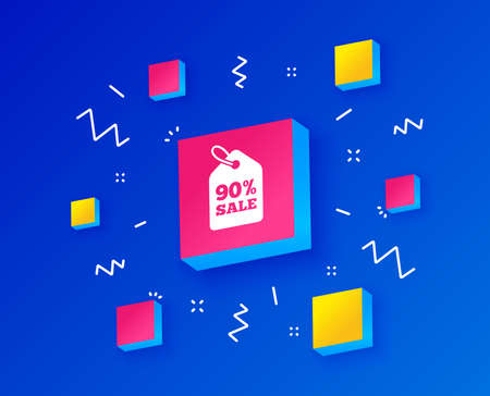 Illustration pour 90% sale price tag sign icon. Discount symbol. Special offer label. Isometric cubes with geometric shapes. Creative shopping banners. Template for design. Vector - image libre de droit