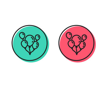 Illustration pour Balloons line icon. Amusement park or birthday party sign. Positive and negative circle buttons concept. Good or bad symbols. Balloons Vector - image libre de droit