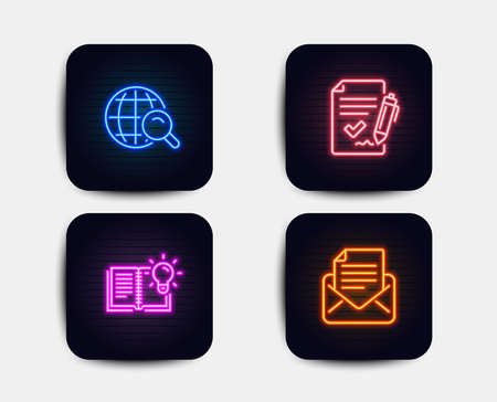 Illustration for Neon glow lights. Set of Product knowledge, Internet search and Approved agreement icons. Mail correspondence sign. Education process, Web finder, Signature document. E-mail newsletter.  Neon icons - Royalty Free Image
