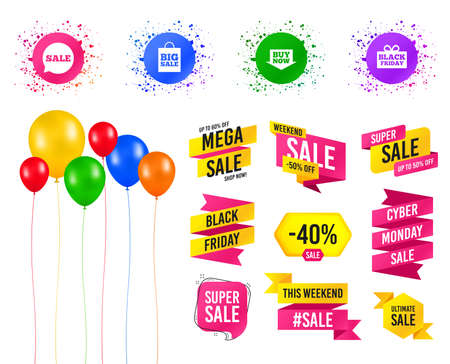 Illustration pour Balloons party. Sales banners. Sale speech bubble icons. Buy now arrow symbols. Black friday gift box signs. Big sale shopping bag. Birthday event. Trendy design. Vector - image libre de droit