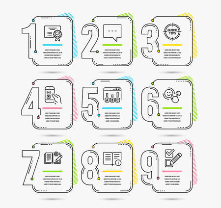 Illustration for Infographic timeline. Set of Blog, Survey results and Mobile survey icons. Technical info, Certificate and Tips signs. Timeline vector - Royalty Free Image