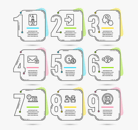 Illustration pour Infographic template with numbers 9 options. Set of Login, Crane claw machine and Usd coins icons. Select user, People communication and Quiz test signs. Vector - image libre de droit