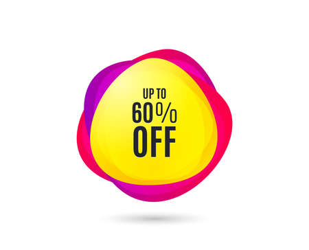 Illustration pour Up to 60% off Sale. Discount offer price sign. Special offer symbol. Save 60 percentages. Gradient sale tag. Abstract shopping banner discount. Template for design. Vector - image libre de droit