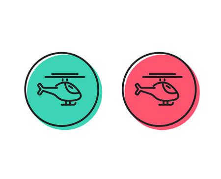 Illustration pour Helicopter transport line icon. Flight transportation sign. Positive and negative circle buttons concept. Good or bad symbols. Helicopter Vector - image libre de droit