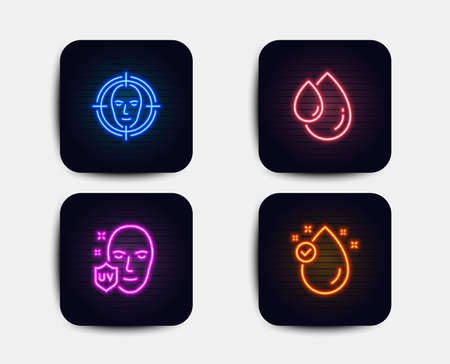 Ilustración de Neon glow lights. Set of Face detect, Uv protection and Oil drop icons. Vitamin e sign. Select target, Ultraviolet, Serum. Oil drop.  Neon icons. Glowing light banners. Vector - Imagen libre de derechos