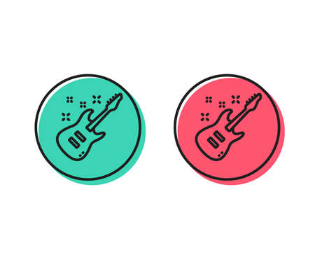Illustrazione per Electric guitar line icon. Music sign. Musical instrument symbol. Positive and negative circle buttons concept. Good or bad symbols. Electric Guitar Vector - Immagini Royalty Free