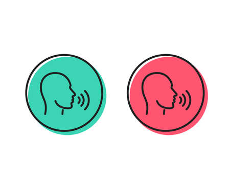 Illustrazione per Human sing line icon. Talk sign. Person speak symbol. Positive and negative circle buttons concept. Good or bad symbols. Human sing Vector - Immagini Royalty Free