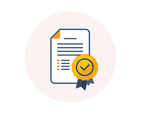 Illustration for Certificate diploma icon. Graduation document with medal sign. Education certification diploma symbol. Achievement award medal. Certificate document vector. - Royalty Free Image