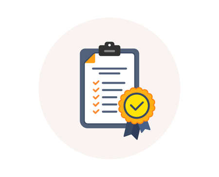 Illustration pour In compliance icon. Checklist sign. Certified document symbol. Approval process. Company passed inspection. Colorful compliance icon in circle button. Certified approval checklist. Verified vector - image libre de droit