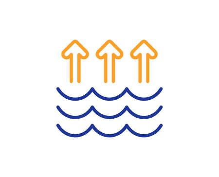 Ilustración de Evaporation line icon. Global warming sign. Waves symbol. Colorful outline concept. Blue and orange thin line color icon. Evaporation Vector - Imagen libre de derechos