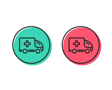 Illustrazione per Ambulance emergency car line icon. Hospital transportation vehicle sign. Medical symbol. Positive and negative circle buttons concept. Good or bad symbols. Ambulance emergency Vector - Immagini Royalty Free