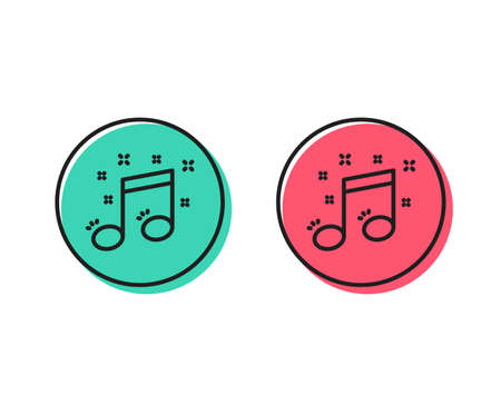 Illustrazione per Musical note line icon. Music sign. Positive and negative circle buttons concept. Good or bad symbols. Musical note Vector - Immagini Royalty Free