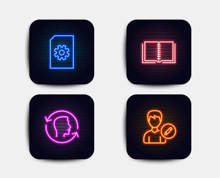 Ilustración de Neon glow lights. Set of File management, Face id and Book icons. Edit person sign. Doc with cogwheel, Identification system, E-learning course. Change user info.  Neon icons. Glowing light banners - Imagen libre de derechos