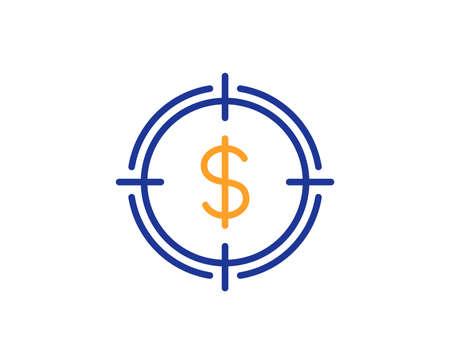 Ilustración de Target with Dollar line icon. Aim symbol. Cash or Money sign. Colorful outline concept. Blue and orange thin line color icon. Dollar Target Vector - Imagen libre de derechos