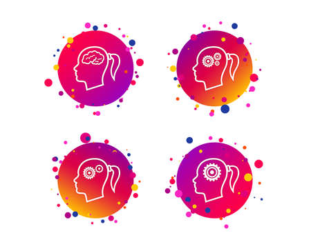 Illustration pour Head with brain icon. Female woman think symbols. Cogwheel gears signs. Gradient circle buttons with icons. Random dots design. Vector - image libre de droit