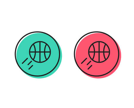 Illustration pour Basketball line icon. Sport ball sign. Competition symbol. Positive and negative circle buttons concept. Good or bad symbols. Basketball Vector - image libre de droit
