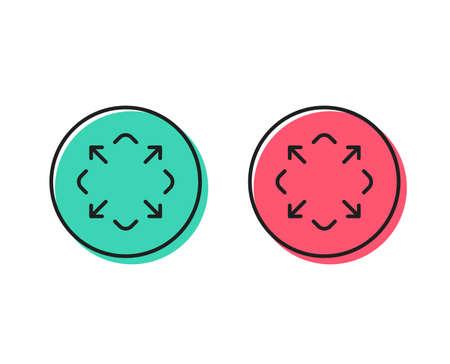Illustration pour Maximize arrow line icon. Full screen symbol. Maximise Navigation sign. Positive and negative circle buttons concept. Good or bad symbols. Maximize Vector - image libre de droit