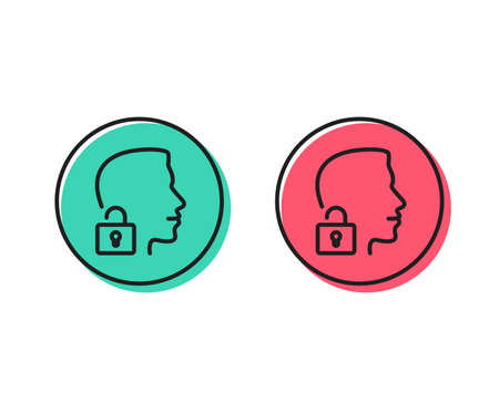 Illustration pour Face accepted line icon. Access granted sign. Unlock system symbol. Positive and negative circle buttons concept. Good or bad symbols. Unlock system Vector - image libre de droit