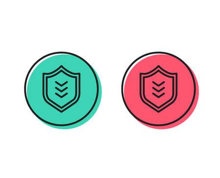 Illustration pour Shield line icon. Protection symbol. Business security sign. Positive and negative circle buttons concept. Good or bad symbols. Shield Vector - image libre de droit