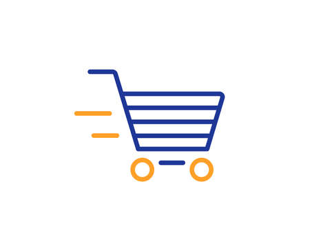 Illustration for Delivery Service line icon. Shopping cart sign. Express Online buying. Supermarket basket symbol. Colorful outline concept. Blue and orange thin line color icon. Delivery shopping Vector - Royalty Free Image