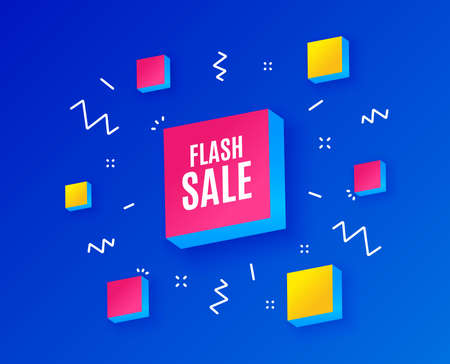 Illustration for Flash Sale. Special offer price sign. Advertising Discounts symbol. Isometric cubes with geometric shapes. Creative shopping banners. Template for design. Flash sale vector - Royalty Free Image