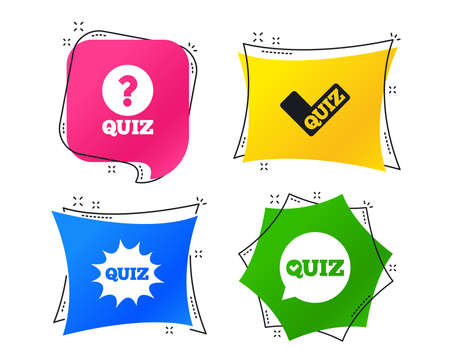 Illustration pour Quiz icons. Speech bubble with check mark symbol. Explosion boom sign. Geometric colorful tags. Banners with flat icons. Trendy design. Vector - image libre de droit