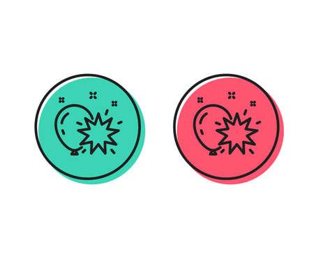 Illustrazione per Balloon dart line icon. Amusement park sign. Pop the balloon symbol. Positive and negative circle buttons concept. Good or bad symbols. Balloon dart Vector - Immagini Royalty Free