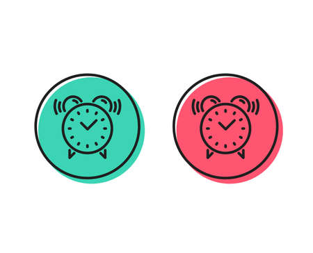 Illustrazione per Alarm clock line icon. Time or watch sign. Positive and negative circle buttons concept. Good or bad symbols. Alarm clock Vector - Immagini Royalty Free