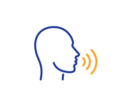 Ilustración de Human sing line icon. Talk sign. Person speak symbol. Colorful outline concept. Blue and orange thin line color icon. Human sing Vector - Imagen libre de derechos