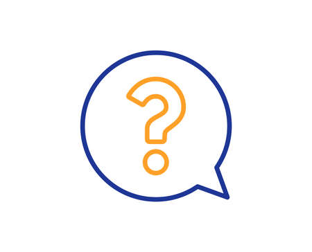 Illustrazione per Question mark line icon. Help speech bubble sign. FAQ symbol. Colorful outline concept. Blue and orange thin line color icon. Question mark Vector - Immagini Royalty Free