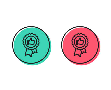 Illustrazione per Positive feedback line icon. Award medal symbol. Reward sign. Positive and negative circle buttons concept. Good or bad symbols. Positive feedback Vector - Immagini Royalty Free