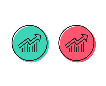 Illustration pour Chart line icon. Report graph or Sales growth sign. Analysis and Statistics data symbol. Positive and negative circle buttons concept. Good or bad symbols. Demand curve Vector - image libre de droit