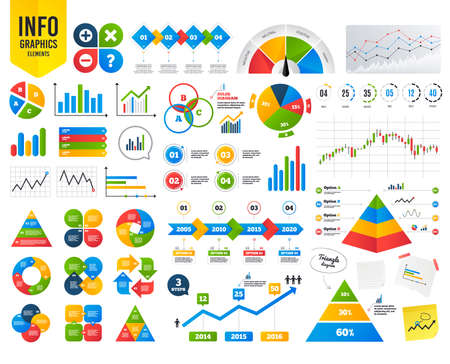 Illustration pour Business infographic template. Plus and minus icons. Delete and question FAQ mark signs. Enlarge zoom symbol. Financial chart. Time counter. Vector - image libre de droit
