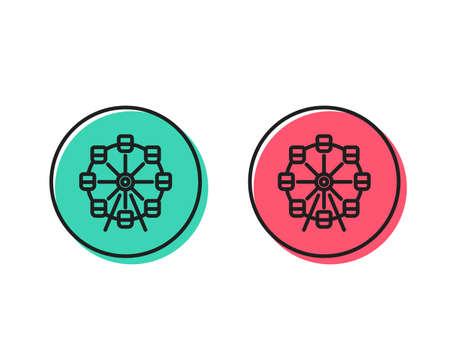 Illustrazione per Ferris wheel line icon. Amusement park sign. Carousels symbol. Positive and negative circle buttons concept. Good or bad symbols. Ferris wheel Vector - Immagini Royalty Free