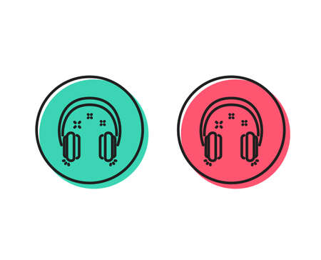 Illustrazione per Headphones line icon. Music listen sign. Musical earphones symbol. Positive and negative circle buttons concept. Good or bad symbols. Headphones Vector - Immagini Royalty Free