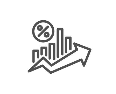 Ilustración de Loan percent growth chart line icon. Discount sign. Credit percentage symbol. Quality design flat app element. Editable stroke Loan percent icon. Vector - Imagen libre de derechos